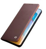 Qialino echt lederen luxe wallet hoes Bruin voor de Huawei P40