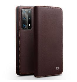 Qialino Qialino - echt lederen luxe wallet hoes - Huawei P40 - Bruin