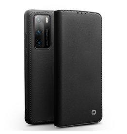 Qialino - echt lederen luxe wallet hoes - Huawei P40 Pro - Zwart