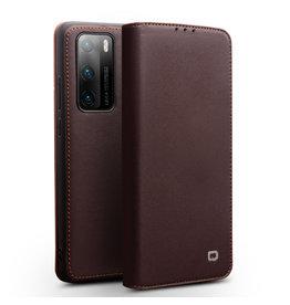 Qialino - echt lederen luxe wallet hoes - Huawei P40 Pro - Bruin