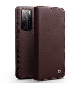 Qialino Qialino - echt lederen luxe wallet hoes - Huawei P40 Pro - Bruin