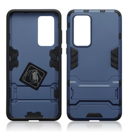 Qubits Qubits - Double Armor Layer hoes met stand - Huawei P40 - Blauw