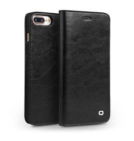 Qialino Qialino - echt lederen luxe wallet hoes - iPhone 7 / 8 / SE (2020) - Zwart