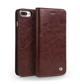 Qialino - echt lederen luxe wallet hoes - iPhone 7 / 8 / SE (2020) - Bruin