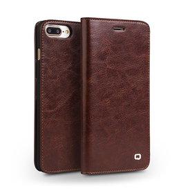 Qialino Qialino - echt lederen luxe wallet hoes - iPhone 7 / 8 / SE (2020) - Bruin