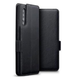 Qubits Qubits - lederen slim folio wallet hoes - Samsung Galaxy A90 - Zwart