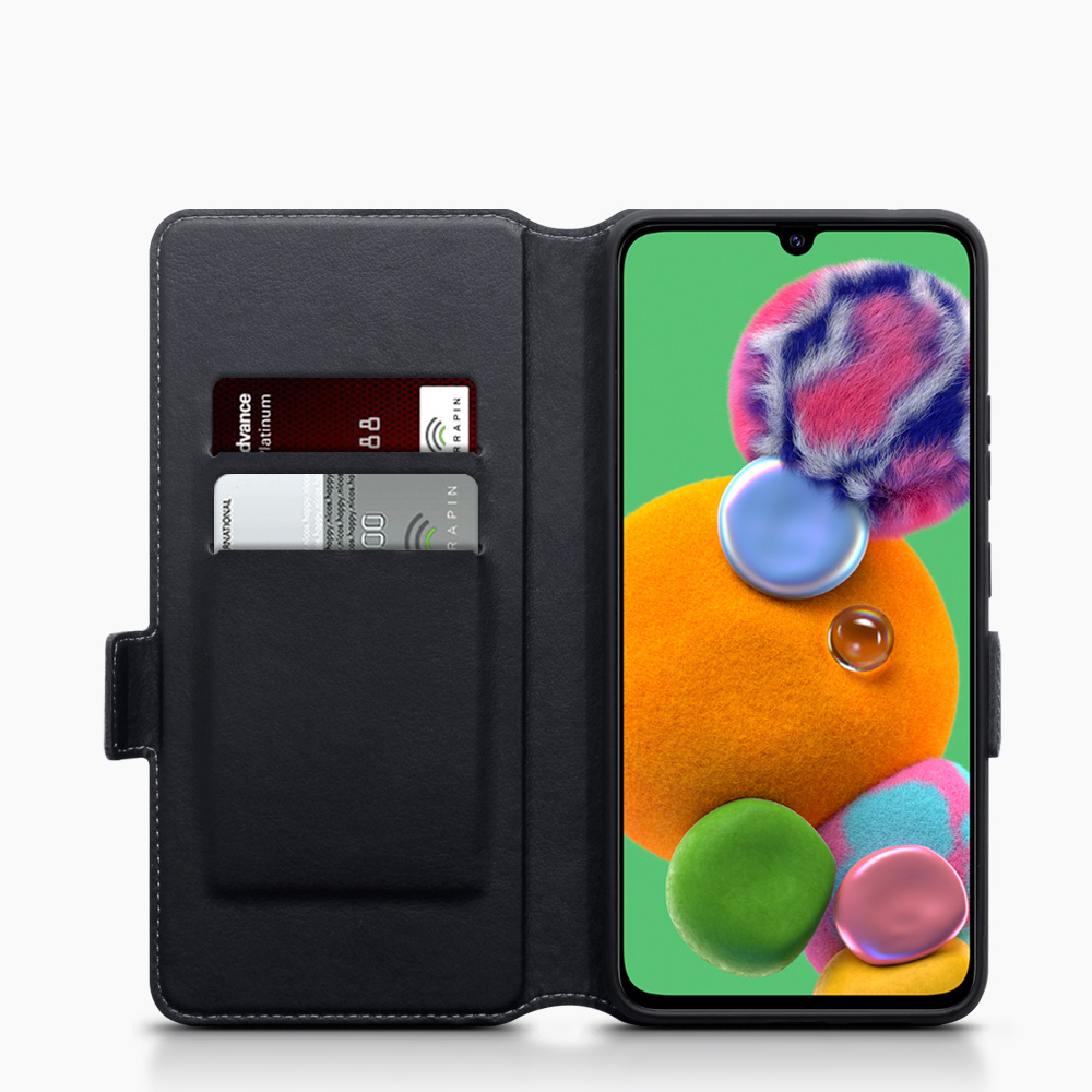 Qubits Lederen slim folio wallet hoes zwart voor de Samsung Galaxy A90