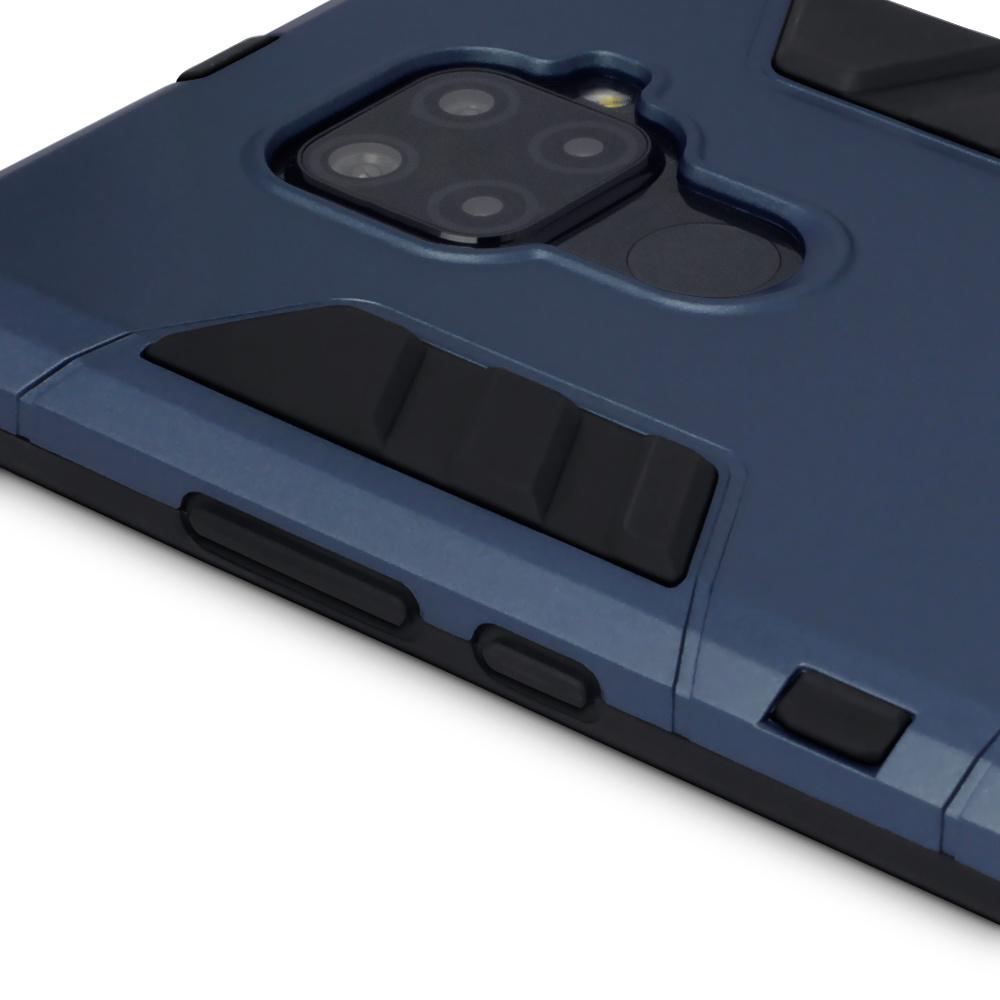 Qubits Double Armor Layer hoes Blauw met stand voor de Huawei Mate 30 Lite