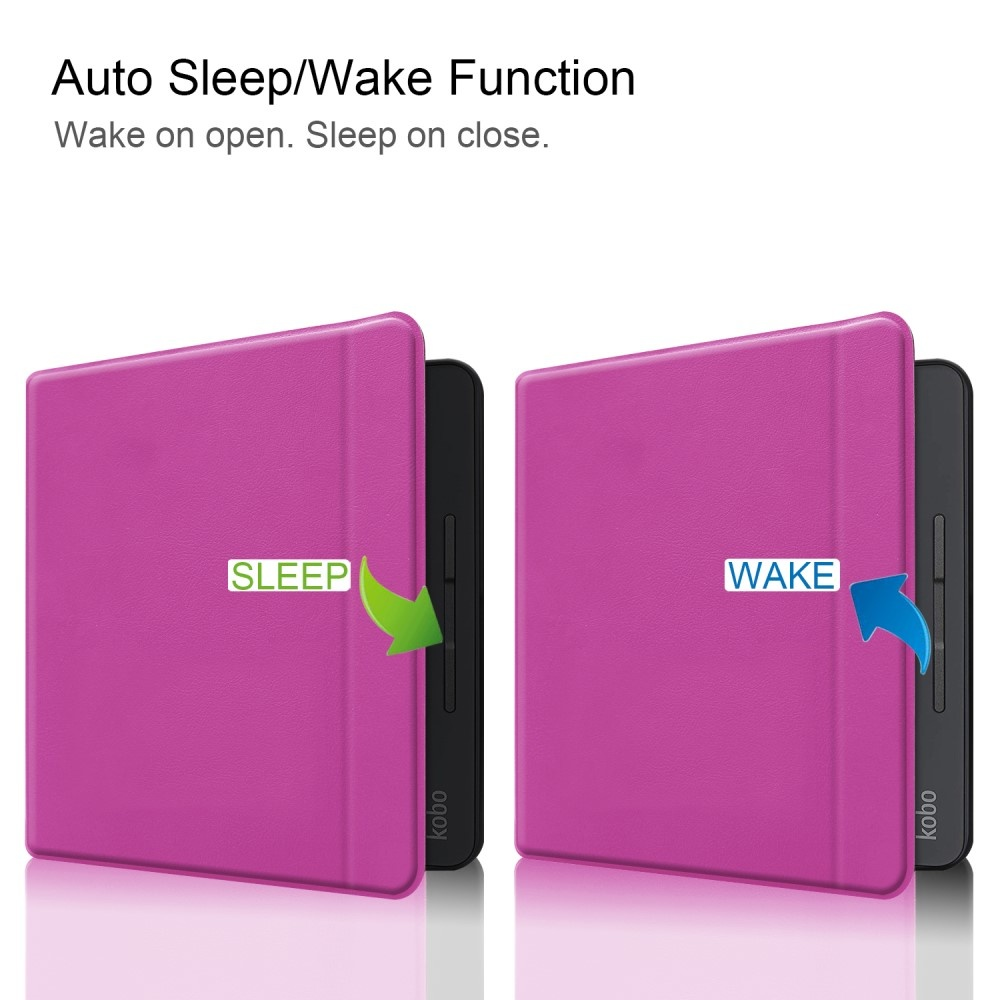 Lunso Sleepcover flip hoes Paars voor de Kobo Forma (8 inch)