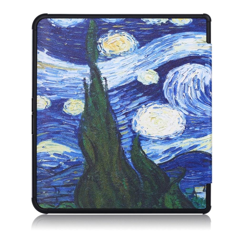 Lunso Sleepcover origami hoes Van Gogh Schilderij voor de Kobo Forma (8 inch)