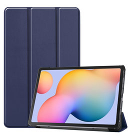 Lunso 3-Vouw sleepcover hoes - Samsung Galaxy Tab S6 Lite - Blauw