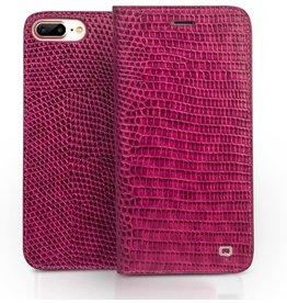 Qialino Qialino - echt lederen luxe wallet hoes - iPhone 7 / 8 / SE (2020) - Croco Roze