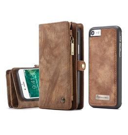 Caseme Caseme - vintage 2 in 1 portemonnee hoes - iPhone 7 / 8 / SE (2020) - Bruin