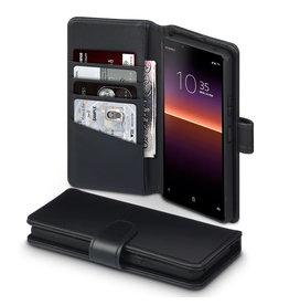Qubits Qubits - luxe echt lederen wallet hoes - Sony Xperia 10 II - Zwart