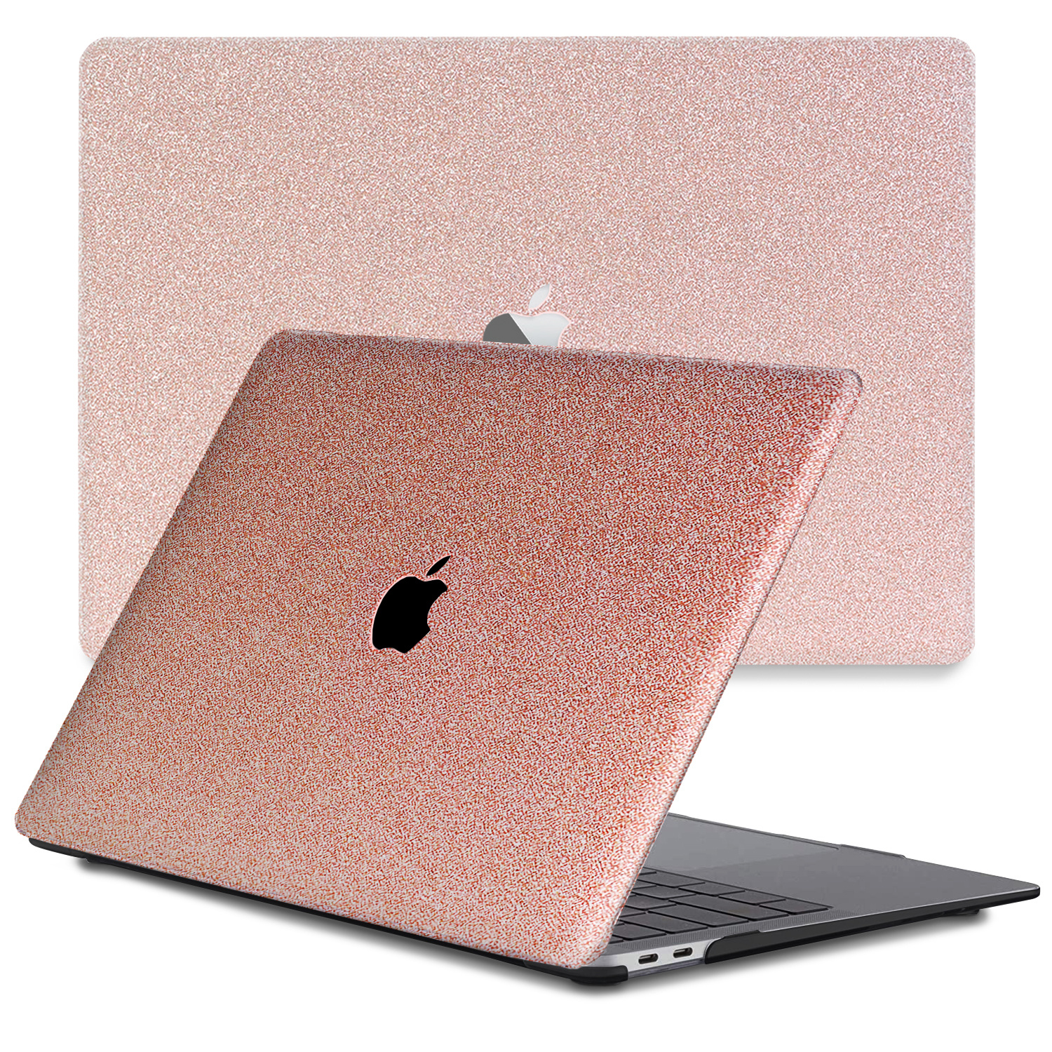 Lunso Glitter Rose Goud cover hoes voor de MacBook Air 13 inch (2020)