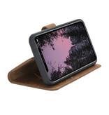 NorthLife Echt lederen uitneembare 2-in-1 (RFID) bookcase hoes Villa Cruoninga Cognac voor de iPhone 11 Pro Max