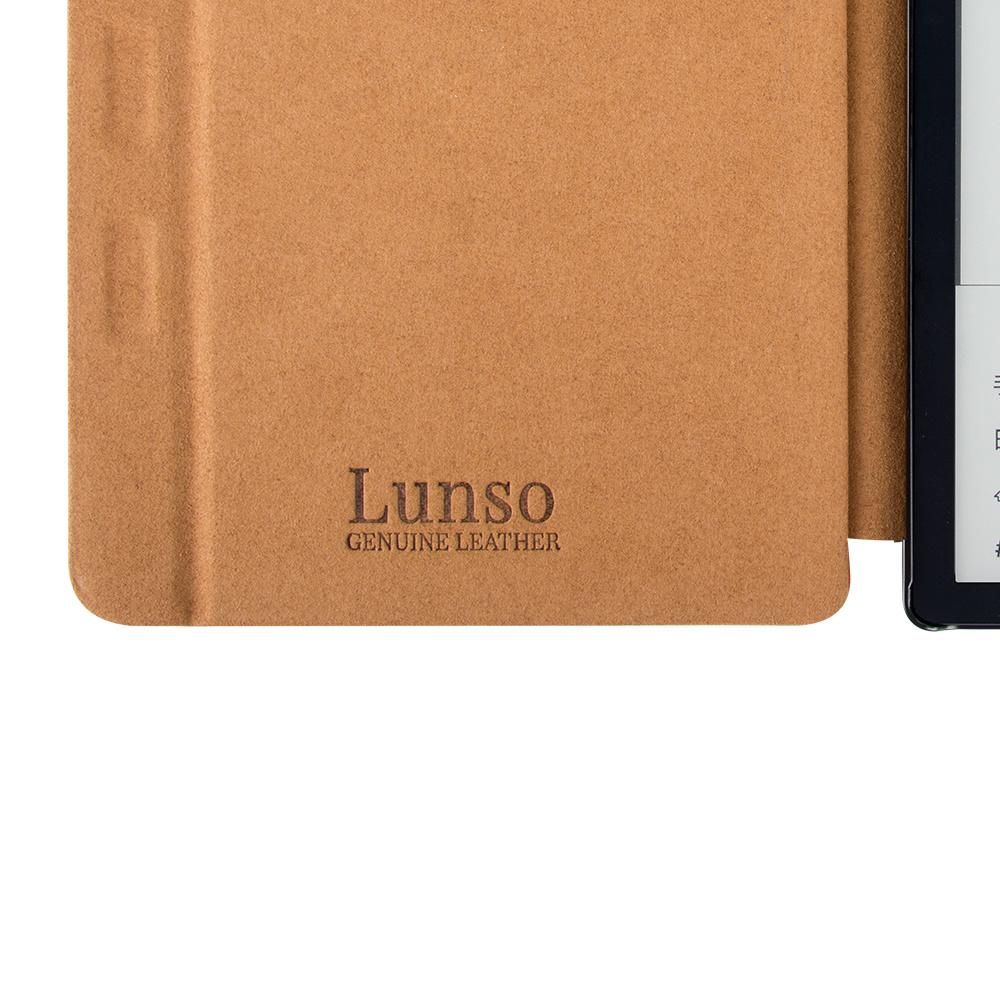 Lunso Echt lederen sleepcover hoes Cognac voor de Kobo Libra H20 (7 inch)