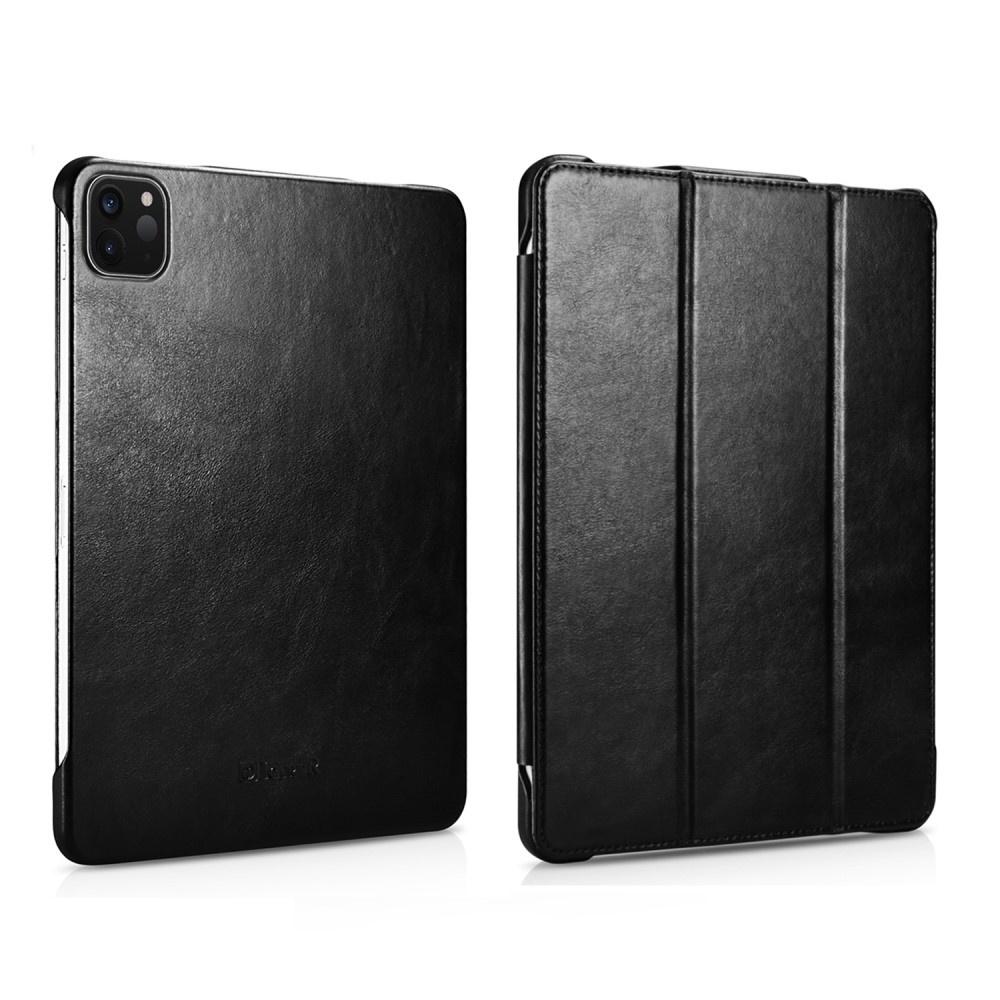 Icarer - 3-Vouw echt lederen sleepcover hoes - iPad Pro 11 inch (2018-2020) - Zwart