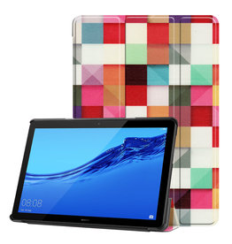 Lunso 3-Vouw sleepcover hoes - Huawei MediaPad T5 10 - Blokken