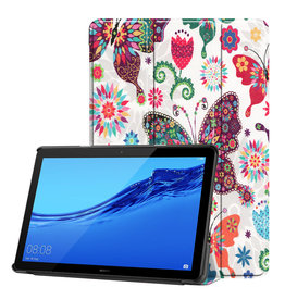 Lunso 3-Vouw sleepcover hoes - Huawei MediaPad T5 10 - Vlinders