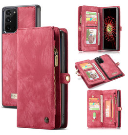 Caseme Caseme - vintage 2 in 1 portemonnee hoes - Samsung Galaxy Note 20 - Rood