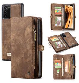 Caseme Caseme - vintage 2 in 1 portemonnee hoes - Samsung Galaxy Note 20 - Bruin