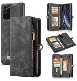 Caseme Caseme - vintage 2 in 1 portemonnee hoes - Samsung Galaxy Note 20 - Zwart