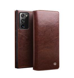 Qialino - echt lederen luxe wallet hoes - Samsung Galaxy Note 20 - Bruin