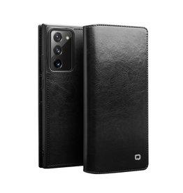 Qialino - echt lederen luxe wallet hoes - Samsung Galaxy Note 20 - Zwart