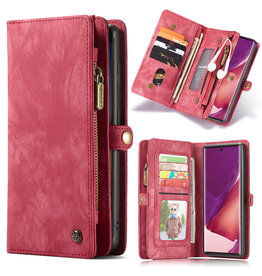 Caseme Caseme - vintage 2 in 1 portemonnee hoes - Samsung Galaxy Note 20 Ultra - Rood