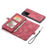 Caseme Vintage 2 in 1 portemonnee hoes Rood voor de Samsung Galaxy Note 20  Ultra