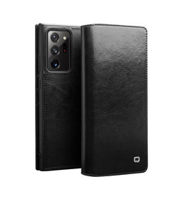 Qialino - echt lederen luxe wallet hoes - Samsung Galaxy Note 20 Ultra - Zwart