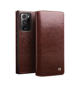 Qialino Qialino - echt lederen luxe wallet hoes - Samsung Galaxy Note 20 Ultra - Bruin