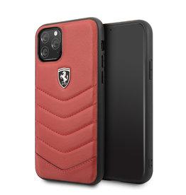 Ferrari Ferrari Scuderia - Lederen backcover hoes - iPhone 11 Pro Max - Rood + Lunso beschermfolie