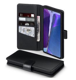 Qubits Qubits - luxe echt lederen wallet hoes - Samsung Galaxy Note 20 - Zwart