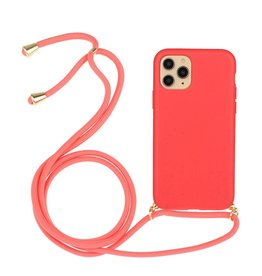 Lunso Lunso - Backcover hoes met koord - iPhone 11 Pro Max - Rood
