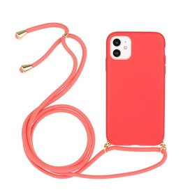Lunso Lunso - Backcover hoes met koord - iPhone 11 - Rood