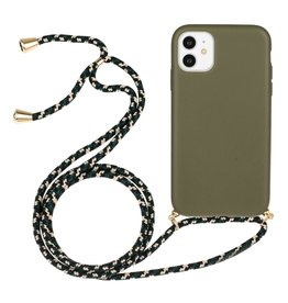 Lunso Lunso - Backcover hoes met koord - iPhone 11 - Army Groen