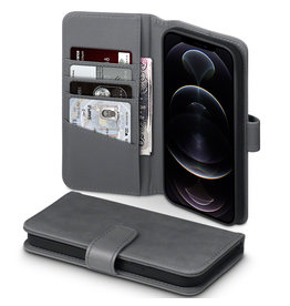 Qubits Qubits - luxe echt lederen wallet hoes - iPhone 12 Pro Max - Grijs
