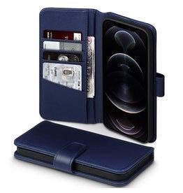 Qubits Qubits - luxe echt lederen wallet hoes - iPhone 12 Pro Max - Blauw