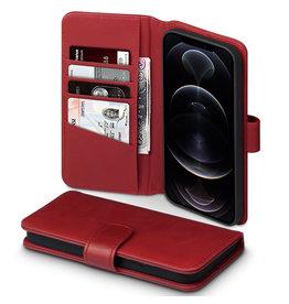 Qubits Qubits - luxe echt lederen wallet hoes - iPhone 12 Pro Max - Rood