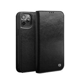 Qialino Qialino - echt lederen luxe wallet hoes - iPhone 12 Pro Max - Zwart
