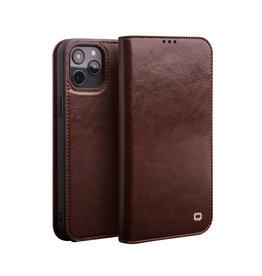 Qialino Qialino - echt lederen luxe wallet hoes - iPhone 12 Pro Max - Bruin