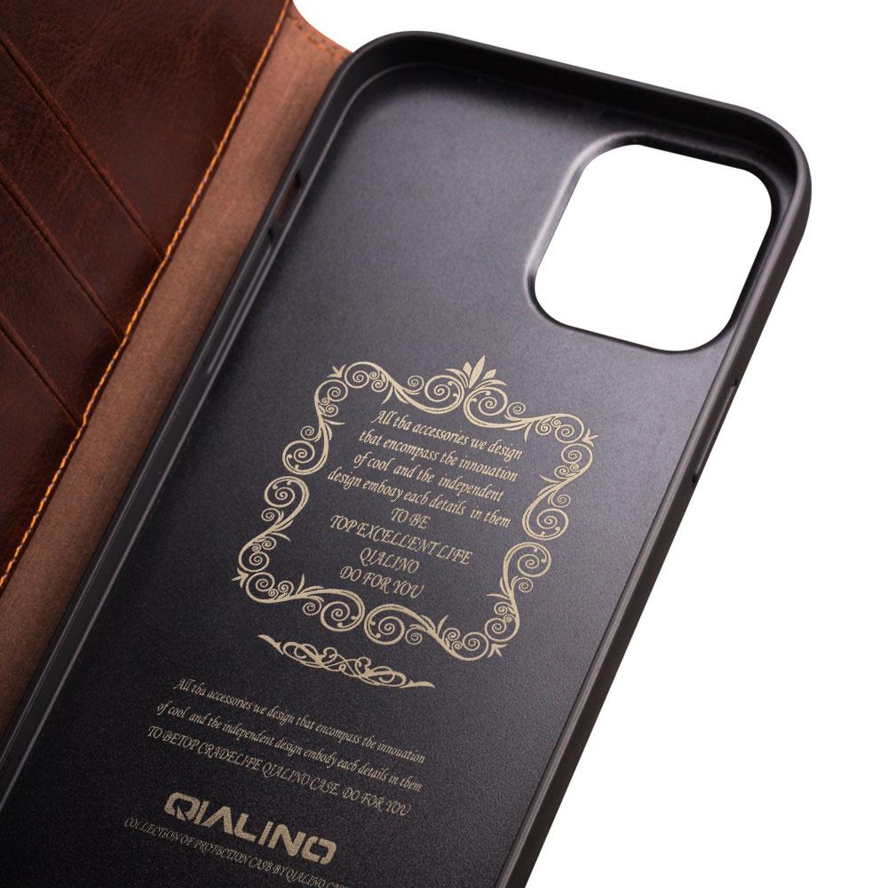Qialino Echt lederen luxe wallet hoes Bruin voor de iPhone 12 Mini