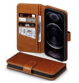 Qubits Qubits - luxe echt lederen wallet hoes - iPhone 12 Pro Max - Cognac