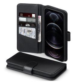 Qubits Qubits - luxe echt lederen wallet hoes - iPhone 12 Pro Max - Zwart