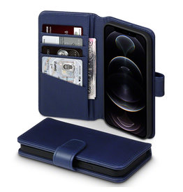 Qubits Qubits - luxe echt lederen wallet hoes - iPhone 12 / iPhone 12 Pro - Blauw