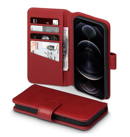 Qubits Qubits - luxe echt lederen wallet hoes - iPhone 12 / iPhone 12 Pro - Rood
