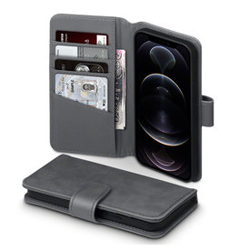 Qubits Qubits - luxe echt lederen wallet hoes - iPhone 12 / iPhone 12 Pro - Grijs