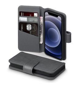 Qubits Qubits - luxe echt lederen wallet hoes - iPhone 12 Mini - Grijs
